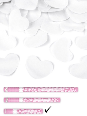 Confetti cannon with hearts, white, 40cm