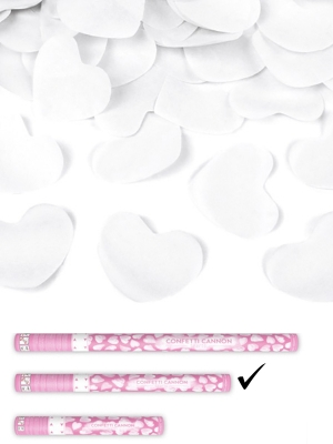 Confetti cannon with hearts, white, 60cm