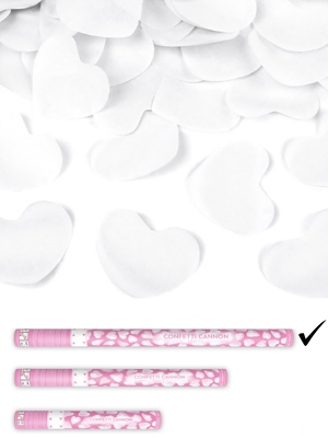 Confetti cannon with hearts, white, 80cm