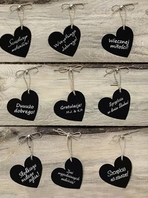 10 gab, Dekoratīvās birkas Sirds, melnas, 5 x 4.5 cm