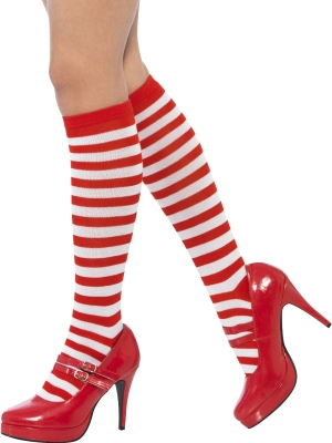 Striped Socks, Long, Red & White