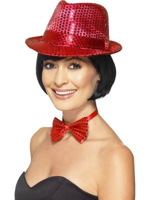 Cepure ar fliteriem, sarkana