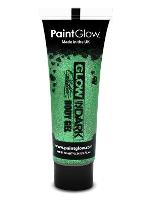 Tumsā spīdoša želeja ķermenim, zaļa, 10 ml