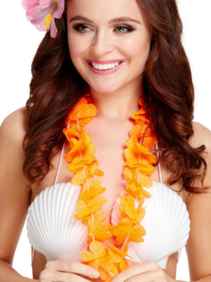 Havaju ziedu virtene, neona oranža