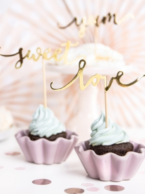 6 pcs, Cupcake toppers Love, Sweet, Yum, gold, 13 cm