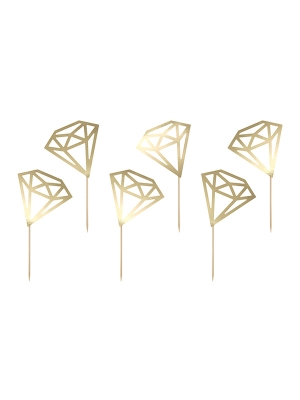 6 pcs, Cupcake toppers Diamonds, gold, 9.5 cm