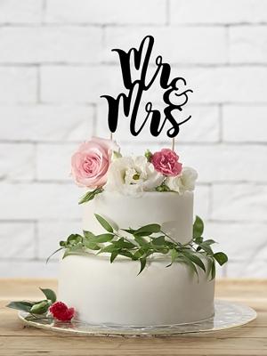 Tortes iesmiņš Mr&Mrs, melns, 25.5 cm