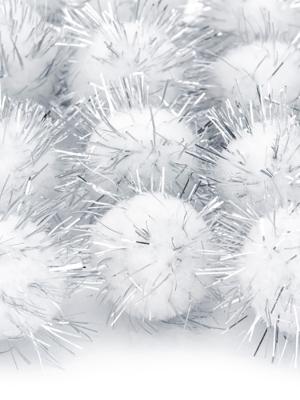 20 gab, Plīša pomponi, balti, 2 cm