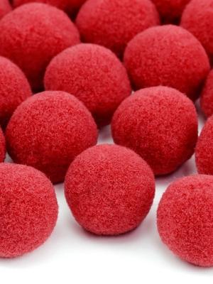 20 gab, Plīša pomponi, sarkani, 2 cm