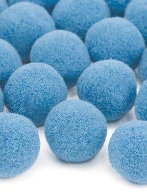 20 gab, Plīša pomponi, gaiši zili, 2 cm