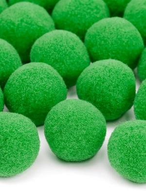 20 gab, Plīša pomponi, gaiši zaļi, 2 cm