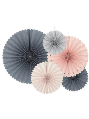 5 gab, Dekoratīvās rozetes, rozā, pelēks, persiku, 14, 19, 21, 25, 38 cm