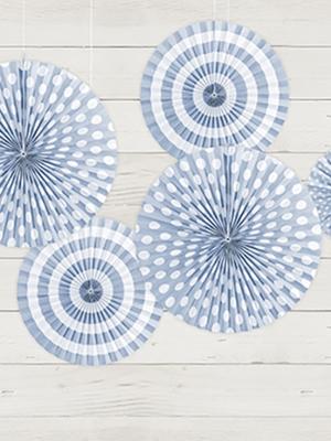 3 gab, Dekoratīvās rozetes, gaiši zilas, 40, 32, 23 cm