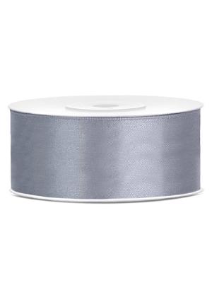 Satīna lente, vēsi pelēka, 25 mm x 25 m
