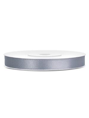 Satīna lente, vēsi pelēka, 6 mm x 25 m