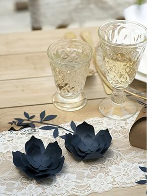 3 gab, Papīra dekorācija Zieds, tumši zils, 10 cm