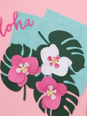 6 pcs, Paper decorations Aloha - Orchids