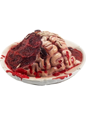 Latex Gory Gourmet Rotting Brain Plate Prop, 27 x 27 x 10 cm