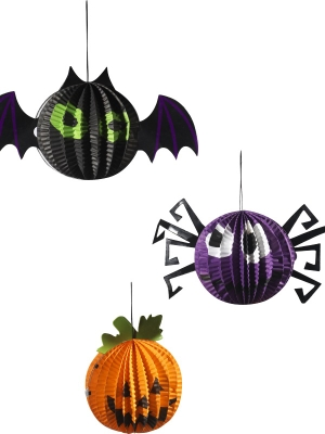 Hanging Halloween Paper Decorations, Set of 3