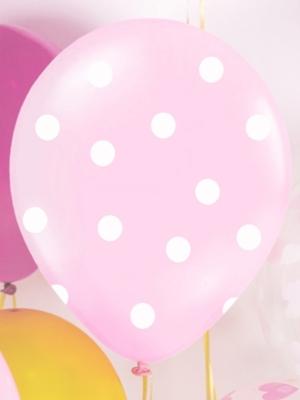 Punktots balons, gaiši rozā ar baltu, 30 cm