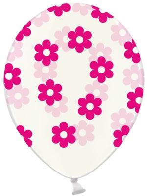 6 gab, Baloni Puķes, caurspīdīgs ar fuksiju, 30 cm