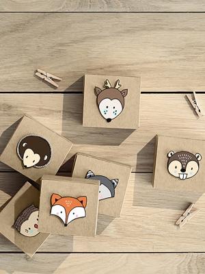 6 gab, Koka zemes kastītes ar dzīvniekiem, 6x5.5x3.5cm