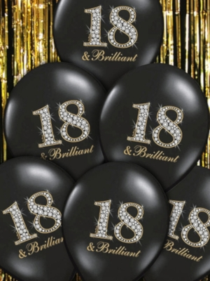 6 gab, Baloni 18 & Brilliant, melni, 30 cm
