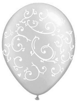 Balons ar ornamentiem, caurspīdīgs ar baltu, 35 cm