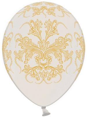 Balons ar ornamentiem, balts ar zeltu, 30 cm
