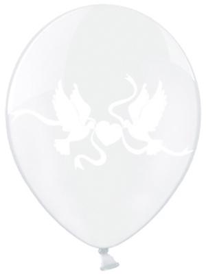 Balons ar dūjām, caurspīdīgs ar baltu, 30 cm