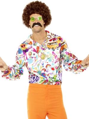 Рубашка 60-х, разноцветная