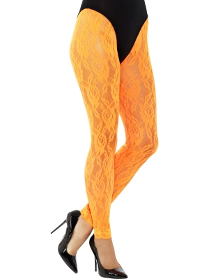 Mežģīņu legingi, neona oranži