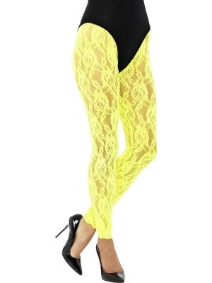 Mežģīņu legingi, neona dzelteni