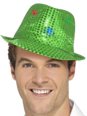 LED Vizuļojoša cepure, zaļa
