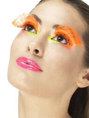 Искусственные ресницы, неоново-оранжевые