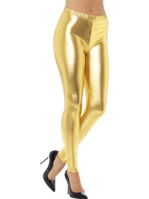 Леггинсы 80-х, металлически золотые