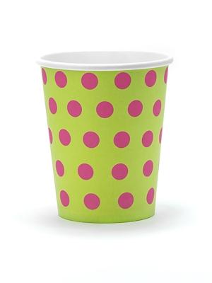 6pcs, Polka Dots Cups, green, 260ml