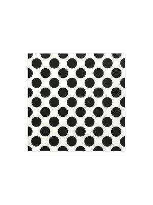 20 gab, Salvetes punktotas, balts ar melnu, 33 cm x 33 cm