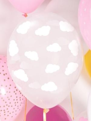 Balons Mākoņi, caurspīdīgs ar baltu, 30 cm