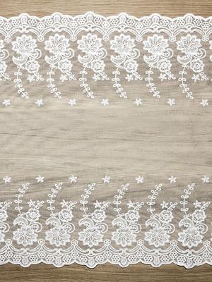 Кружевная лента, белая,  0.45 x 9 м