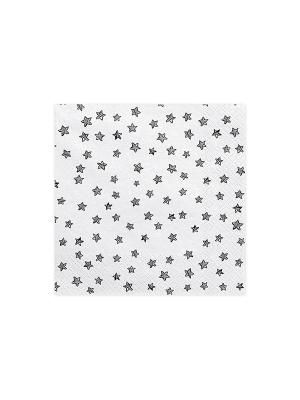 20 gab, Salvetes zvaigznes, baltas ar melno, 33 cm x 33 cm