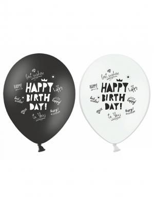 6 gab, Baloni Daudz laimes dzimšanas dienā, melni un balti, 30 cm