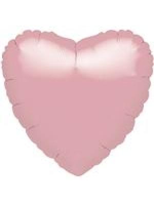 Metāliski pērļu rozā Sirds, 45 cm