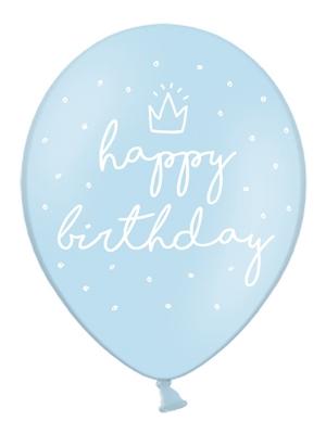 6 gab, Baloni Daudz laimes dzimšanas dienā, gaiši-zili, 30 cm