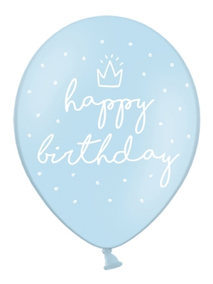 6 gab, Baloni Happy Birthday, gaiši-zili, 30 cm