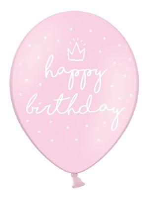 6 gab, Baloni Daudz laimes dzimšanas dienā, gaiši-rozā, 30 cm