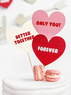6 pcs, Cupcake toppers Sweet Love - Texts, 11 cm