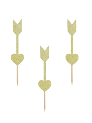 6 pcs, Cupcake Arrows, gold, 12.5 cm