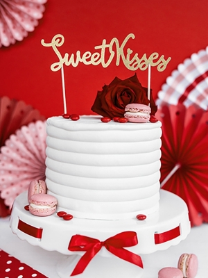 Cake topper Sweet Love - Sweet Kisses, 16.5 cm