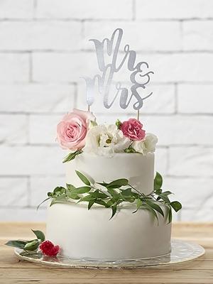 Tortes iesmiņš Mr&Mrs, sudraba, 25.5 cm